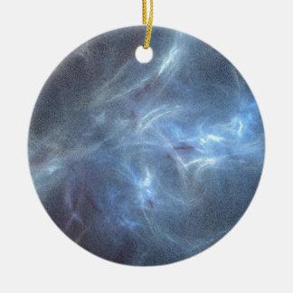 Ice blue fractal round ceramic ornament