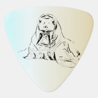 Ice Blue Hand Drawn Walrus Digitized Guitar Pick