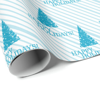 "Ice Blue ""Happy Holidays!"" w/ Christmas Tree Wrapping Paper"