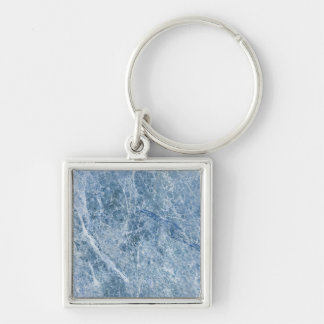 Ice Blue Marble Texture Silver-Colored Square Keychain