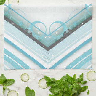 Ice Blue Modern-Retro Stripe Diamond with Monogram Kitchen Towel