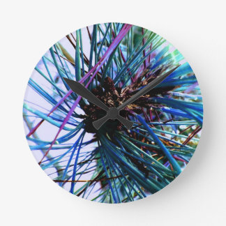 Ice Blue Monkey Puzzle Tree in Winter Wall Clock