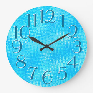 Ice Blue Ripples Pattern Elegant Oversize Numbers Large Clock