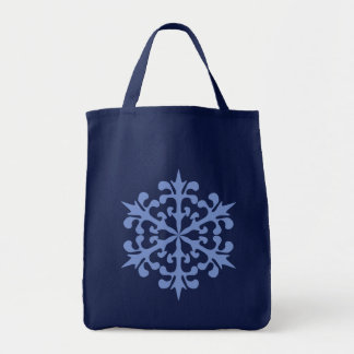 Ice Blue Snowflake Winter Snow Tote Bag