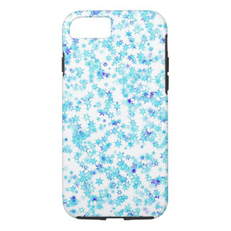 Ice Blue Star Snowflakes Modern Snow iPhone 8/7 Case