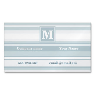 Ice blue stripes magnetic business card