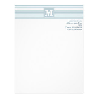Ice blue stripes personalized letterhead