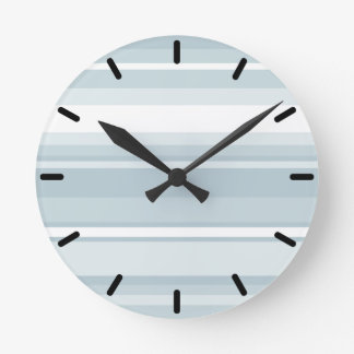 Ice blue stripes wallclock