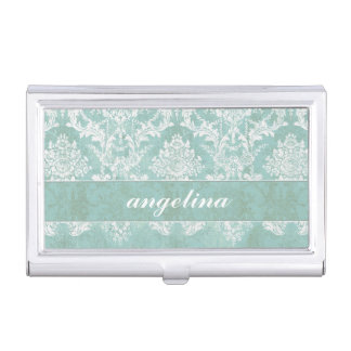 Ice Blue Vintage Damask Pattern with Grungy Finish Business Card Holders