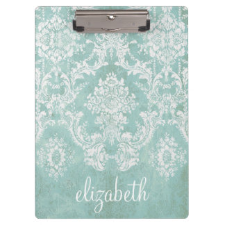Ice Blue Vintage Damask Pattern with Grungy Finish Clipboard