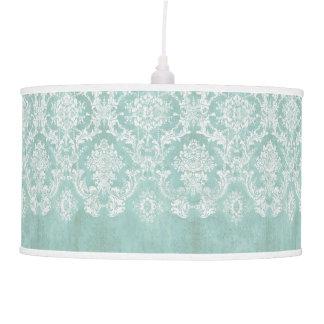 Ice Blue Vintage Damask Pattern with Grungy Finish Pendant Lamp
