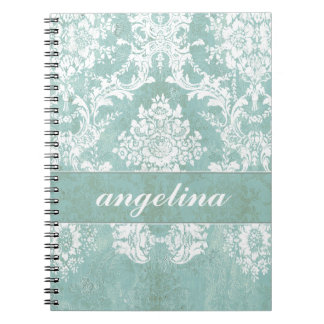 Ice Blue Vintage Damask Pattern with Grungy Finish Spiral Notebook