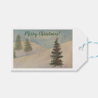 Ice Blue Watercolor Winter Snow Scene Christmas Gift Tags