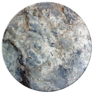 Ice blue white marble stone finish porcelain plate