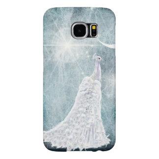 Ice Blue White Peacock Star Burst Samsung Galaxy S6 Cases