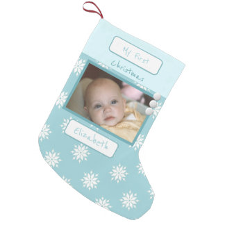 Ice blue with snowflakes My First Christmas photo Small Christmas Stocking