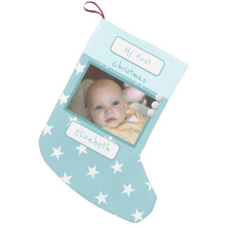 Ice blue with stars My First Christmas photo Small Christmas Stocking