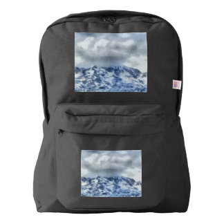 Ice capped mountains backpack