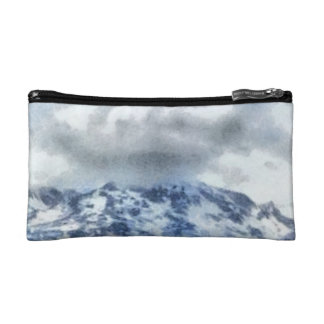 Ice capped mountains cosmetic bags