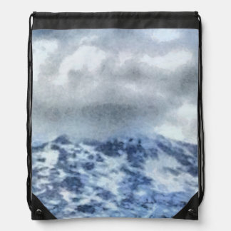 Ice capped mountains drawstring bag