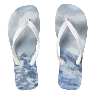 Ice capped mountains flip flops
