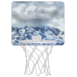 Ice capped mountains mini basketball hoop