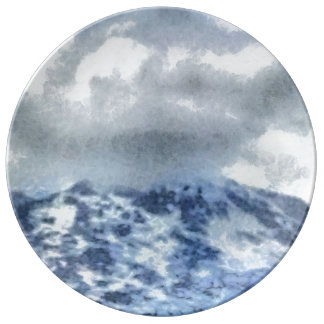 Ice capped mountains plate
