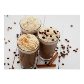 Ice coffee with whipped cream and coffee beans poster