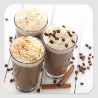 Ice coffee with whipped cream and coffee beans square sticker