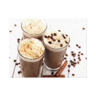 Ice coffee with whipped cream and coffee beans stretched canvas print