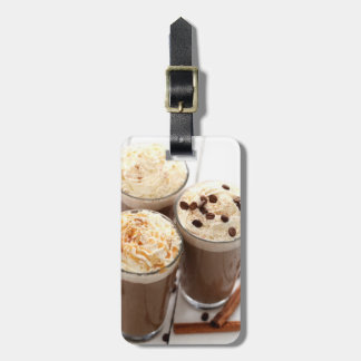 Ice coffee with whipped cream and coffee beans tag for luggage