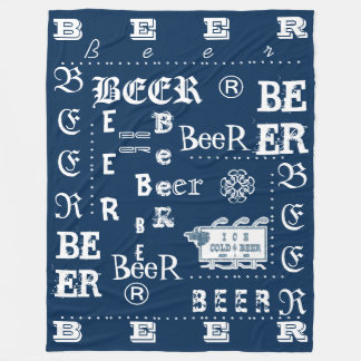 Ice Cold Beer Sign- White and Blue Fleece Blanket