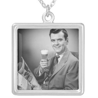 Ice Cold Beer Silver Plated Necklace