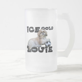 ICE COLD LOUIE FROSTED GLASS BEER MUG