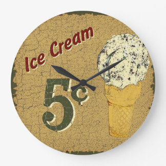 Ice Cream 5 cents Large Clock