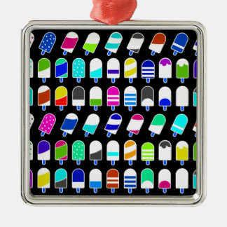 Ice Cream All Over – Colorful Repeating Pattern Silver-Colored Square Ornament