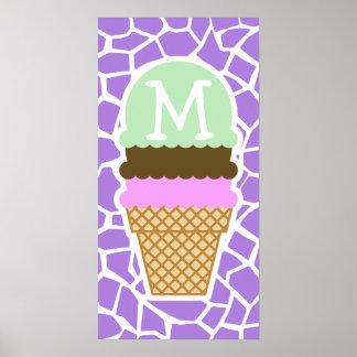 Ice Cream; Amethyst Purple Giraffe Animal Print