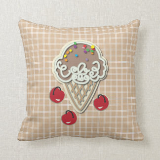 Ice Cream and Cherries Throw Pillow