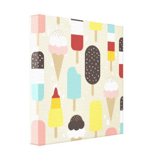 Ice Cream and Frozen Treats Stretched Canvas Print
