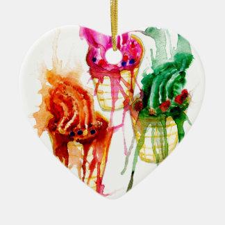 Ice Cream Art 2 Ceramic Heart Ornament