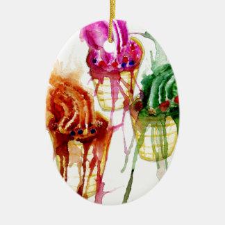 Ice Cream Art 2 Ceramic Oval Ornament
