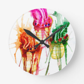 Ice Cream Art 2 Round Clock