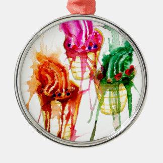 Ice Cream Art 2 Silver-Colored Round Ornament