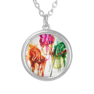 Ice Cream Art 2 Silver Plated Necklace