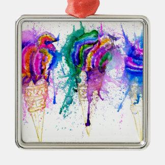 Ice Cream Art 3 Silver-Colored Square Ornament