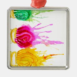 Ice Cream Art Silver-Colored Square Ornament