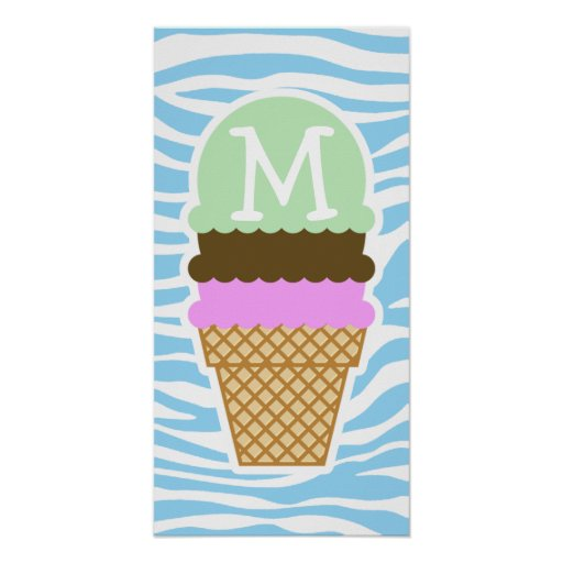 Ice Cream Baby Blue Zebra Animal Print