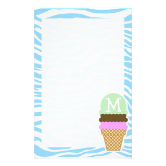 Ice Cream Baby Blue Zebra Animal Print Stationery