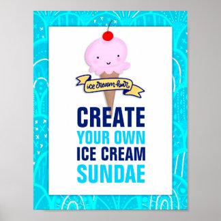 Ice Cream Bar, Create Your Own Sundae, Sign Poster