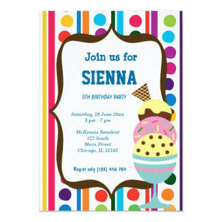 Ice Cream Birthday party Card